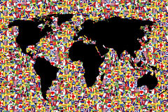 World map on background made of flags Stock Photo