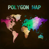 World map background in polygonal style. Modern elements Royalty Free Stock Photos