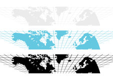 World Map Banners. 3 color world map banners background vector illustration