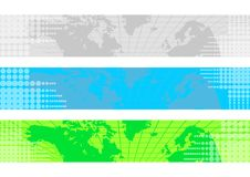 World Map Banners. 3 color world map banners background with transparent dots royalty free illustration