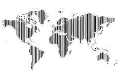 World map barcode_2 Royalty Free Stock Image