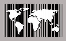 World map on barcode background Royalty Free Stock Photos