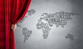 World map behind drapery curtain and hand opening it stock illustration