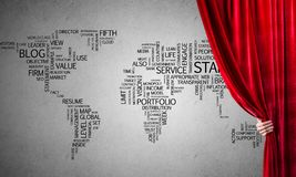World map behind drapery curtain and hand opening it royalty free stock images