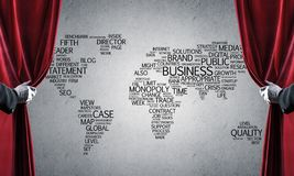 World map behind drapery curtain and hand opening it. Close up of hand in white glove open red velvet curtain royalty free stock photography