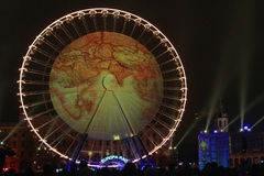 World map on the big Wheel on Place Bellecour Stock Images