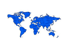 World Map Binary (Blue). Blue world map with binary pattern Royalty Free Stock Image