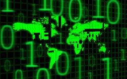 World map and binary code Royalty Free Stock Photos