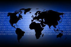 World map - binary code. Blue and black map of the world over binary code Royalty Free Stock Photography
