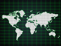 World map with binary code Royalty Free Stock Photos