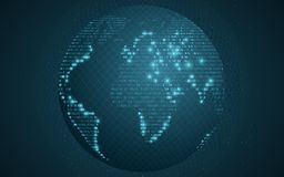 World map from binary code. Abstract planet earth. Transparent pattern from the grid. Futuristic background. Computer programming. Code. Global network. Vector Royalty Free Stock Image