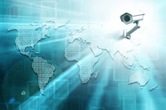 World map with binary code and cctv camera Stock Photography
