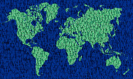 World Map of binary digits Royalty Free Stock Photos