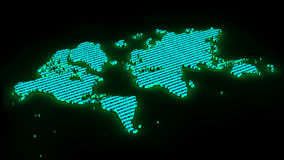 World map with binary numbers as texture. 3d map of the world with binary numbers Stock Image