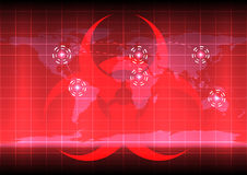 World map with bio hazard symblo  on red color background Stock Photos