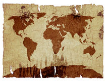 World map on birch bark. Clipping path vector illustration