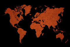 World map on a black background Stock Photography