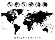 World Map black blank isolated on white and flat navigation icon Stock Images