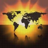 World map black dots. Dark design background Royalty Free Stock Image