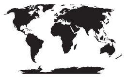 World map black silhouette  Stock Image