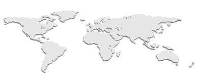 World Map black and white. A world map in Black and White 3D Royalty Free Stock Image