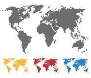 World map black yellow red blue color. Saddle or pixel structure. Globe icon. Flat vector illustration. In black on white background stock illustration