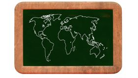 World map on blackboard Stock Photo