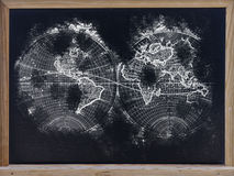 World map in blackboard Stock Photos