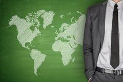 World Map on Blackboard Stock Image