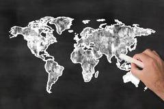 World map on blackboard Royalty Free Stock Photos