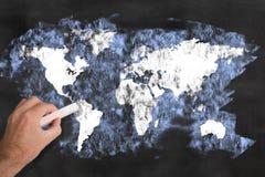 World map blackboard Stock Image