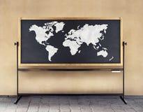 World Map on Blackboard stock illustration