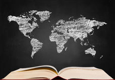 World map  on blackboard Royalty Free Stock Photos