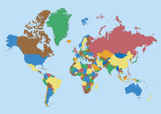 World map blank. Blank world map with all the countries represented only by borders and colors Stock Images