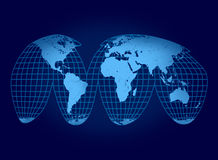 World map on blue Stock Photography
