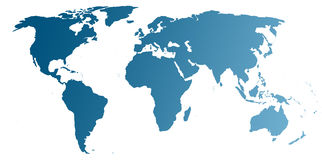 World map (blue) Stock Images
