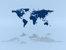World map on blue Stock Image