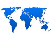 World map in Blue. A map of the world in Blue vector illustration