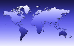World Map In Blue. World Map With Small Shadow On A Blue Gradient Background Royalty Free Stock Photos