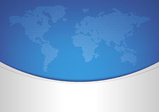 World map on blue background Stock Photo