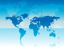 World map on blue background Royalty Free Stock Image