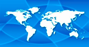 World map in blue background. Illustration of world map in blue background Stock Photo