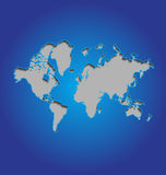 World map on blue background Stock Photography