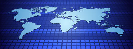World map on blue background Stock Image