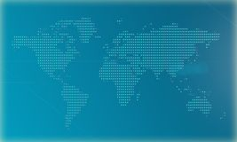 World map on a blue background made by big pixels. 3D Illustration. World map on a blue background made by big pixels stock illustration