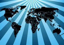 World map blue beams. Black Silhouette World map, on shiny blue beams background. In the vector file each country is a separate shape. Background is in a vector illustration