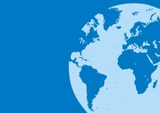 World map in the blue color Stock Images