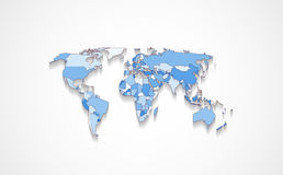 World map in blue color. Design of world map with states in different colors with flat shadow Stock Photography