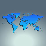 World map blue color. Flat design. Vector illustration Royalty Free Stock Photo