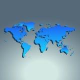 World map blue color. Flat design. Vector illustration vector illustration